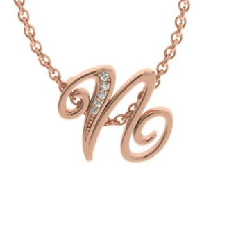 Letter N Diamond Initial Necklace In Rose Gold With 6 Diamonds