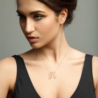 Letter R Diamond Initial Necklace In Rose Gold With 6 Diamonds