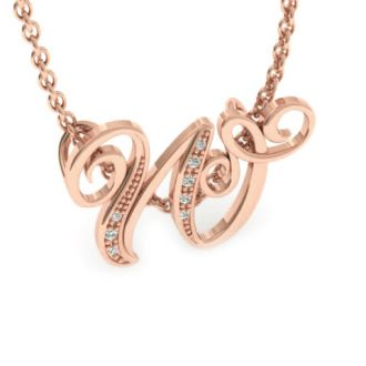Diamond Initial Necklace, Letter W In Serif Style, Rose Gold