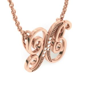 Letter X Diamond Initial Necklace In Rose Gold With 6 Diamonds