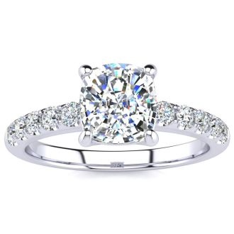 1 3/4 Carat Traditional Diamond Engagement Ring with 1 1/2 Carat Center Cushion Cut Solitaire In White Gold
