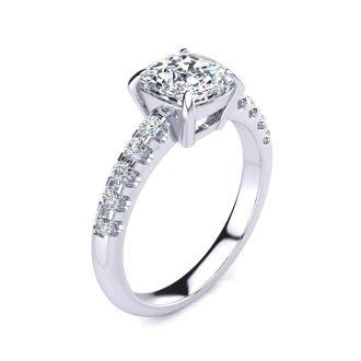 2 1/3 Carat Traditional Diamond Engagement Ring with 2 Carat Center Cushion Cut Solitaire In White Gold