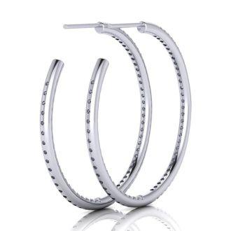 14K White Gold 1 Carat Diamond Three Quarter Hoop Earrings