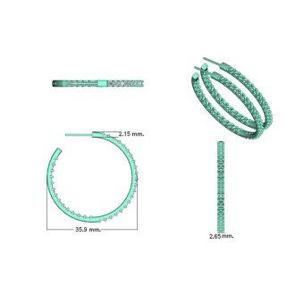 14K White Gold 3 Carat Diamond Three Quarter Hoop Earrings