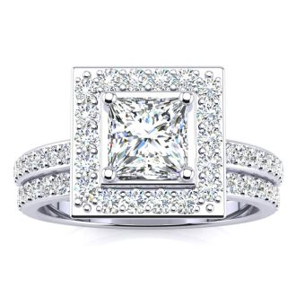 2 Carat Princess Cut Halo Diamond Bridal Set in 14k White Gold