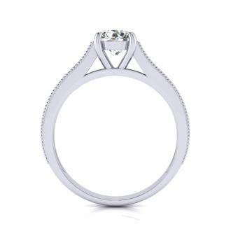 1 1/2 Carat Round Diamond Engagement Ring With 1 Carat Center Diamond In 14K White Gold