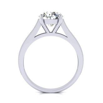 2 Carat Round Diamond Diamond Engagement Ring With 1 1/2 Carat Center Diamond In 14K White Gold