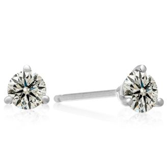 Almost 3/4 Carat Round Diamond Stud Earrings in 14 Karat White Gold with Martini Setting