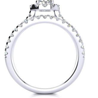 1 1/2 Carat Round Halo Diamond Engagement Ring in 14 Karat White Gold
