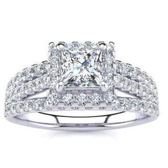 1 Carat Elegant Princess Cut Halo Diamond Engagement Ring In 14 Karat White Gold
