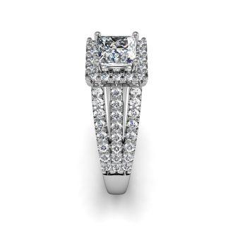 1 1/2 Carat Elegant Princess Cut Halo Diamond Engagement Ring In 14 Karat White Gold