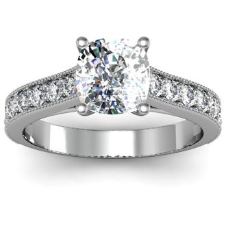 1 1/2 Carat Diamond Engagement Ring With 1 Carat Cushion Cut Center Diamond In 14K White Gold