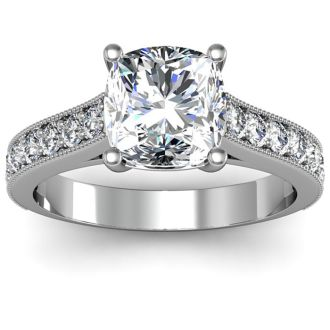 2 Carat Diamond Engagement Ring With 1 1/2 Carat Cushion Cut Center Diamond In 14K White Gold
