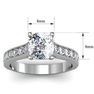2 1/2 Carat Diamond Engagement Ring With 2 Carat Cushion Cut Center Diamond In 14K White Gold