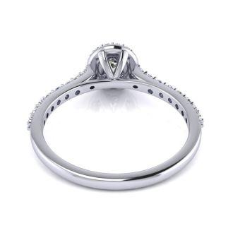 1/2 Carat Halo Diamond Engagement Ring in 14k White Gold