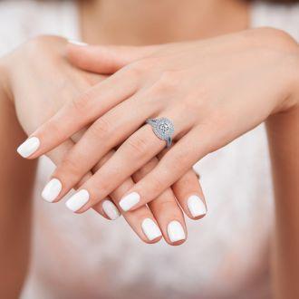 1 Carat Double Halo Diamond Engagement Ring in 14 Karat White Gold