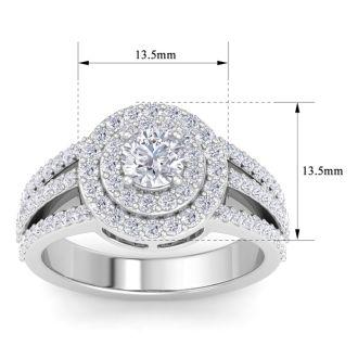 1 1/2 Carat Double Halo Diamond Engagement Ring In 14 Karat White Gold