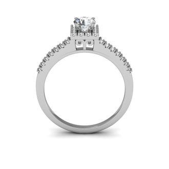 1/2 Carat Square Halo, Round Diamond Engagement Ring in 14k White Gold