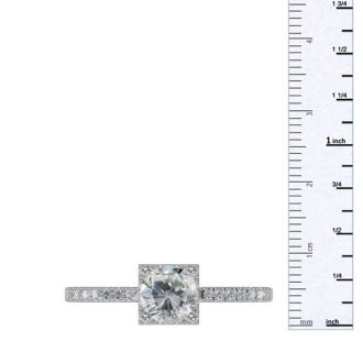 1 Carat Square Halo With Round Brilliant Solitaire Diamond Engagement Ring in White Gold