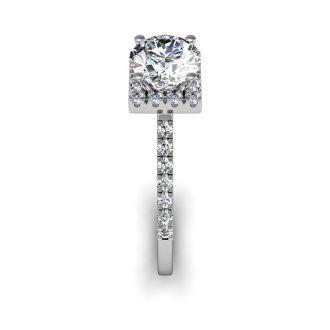 1.40 Carat Square Halo, Round Diamond Engagement Ring in 14k White Gold