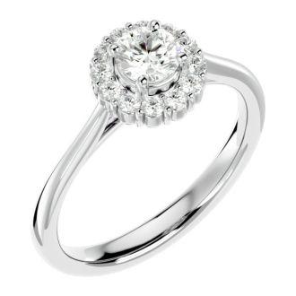 3/4 Carat Halo Diamond Engagement Ring In 14 Karat White Gold