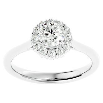 1 Carat Halo Diamond Engagement Ring In 14 Karat White Gold