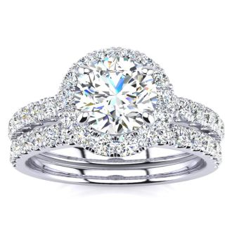 2 Carat Round Floating Halo Diamond Bridal Set in 14k White Gold. Our Most Popular 2ct Round Brilliant Bridal Set!