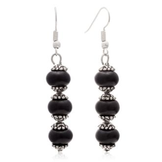 Trendy Three Stone Black Onyx Drop Dangle Earrings