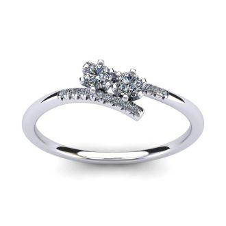 1/4 Carat Two Stone Diamond Ring In 14K White Gold