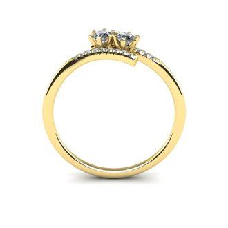 1/4 Carat Two Stone Diamond Ring In 14K Yellow Gold
