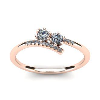 1/4 Carat Two Stone Diamond Ring In 14K Rose Gold