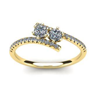 1/2 Carat Two Stone Diamond Ring In 14K Yellow Gold