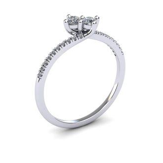 1/4 Carat Two Stone Diamond Bonded Love Ring In 14K White Gold