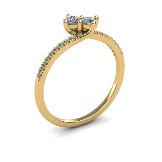 1/4 Carat Two Stone Diamond Bonded Love Ring In 14K Yellow Gold