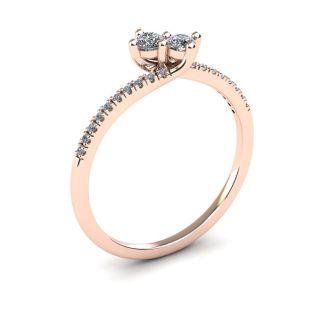 1/4 Carat Two Stone Diamond Bonded Love Ring In 14K Rose Gold