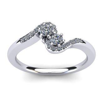 1/4 Carat Two Stone Diamond Swirl Ring In 14K White Gold