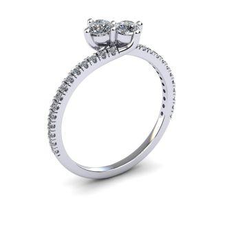 1/2 Carat Two Stone Diamond Bonded Love Ring In 14K White Gold