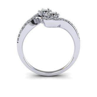 1/2 Carat Two Stone Diamond Swirl Ring In 14K White Gold