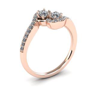 1/2 Carat Two Stone Diamond Swirl Ring In 14K Rose Gold
