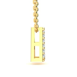 Letter A Diamond Initial Necklace In 14K Yellow Gold With 13 Diamonds