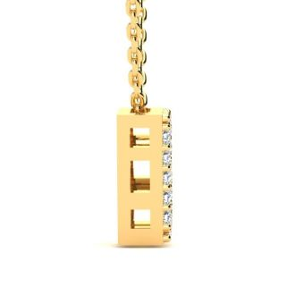 Diamond Initial Necklace, Letter B In Block Style, 14 Karat Yellow Gold