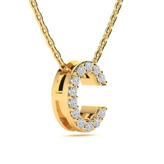 Letter C Diamond Initial Necklace In 14K Yellow Gold With 13 Diamonds