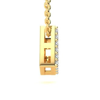 Diamond Initial Necklace, Letter D In Block Style, 14 Karat Yellow Gold