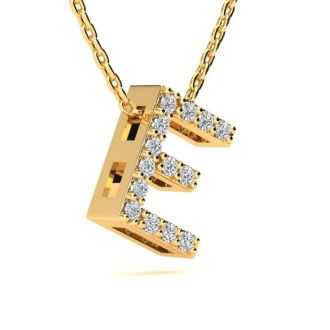 Diamond Initial Necklace, Letter E In Block Style, 14 Karat Yellow Gold