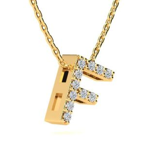 Diamond Initial Necklace, Letter F In Block Style, 14 Karat Yellow Gold