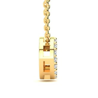 Diamond Initial Necklace, Letter G In Block Style, 14 Karat Yellow Gold