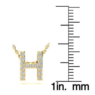 Diamond Initial Necklace, Letter H In Block Style, 14 Karat Yellow Gold