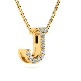 Diamond Initial Necklace, Letter J In Block Style, 14 Karat Yellow Gold