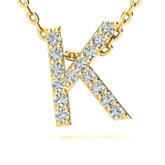 Diamond Initial Necklace, Letter K In Block Style, 14 Karat Yellow Gold