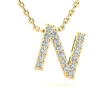 Letter N Diamond Initial Necklace In 14K Yellow Gold With 13 Diamonds
